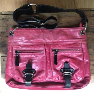 Tano Luxe Distressed Red Leather Convertible Bag